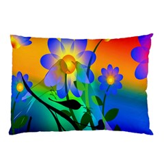 Abstract Flowers Bird Artwork Pillow Case