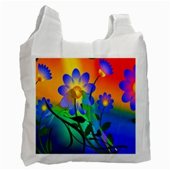 Abstract Flowers Bird Artwork Recycle Bag (Two Side)