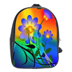 Abstract Flowers Bird Artwork School Bags(Large)