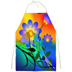Abstract Flowers Bird Artwork Full Print Aprons