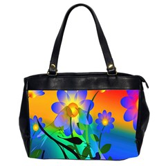 Abstract Flowers Bird Artwork Office Handbags (2 Sides)