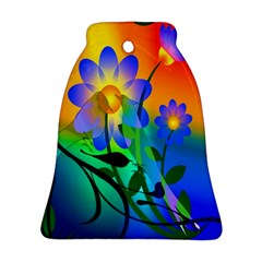 Abstract Flowers Bird Artwork Bell Ornament (Two Sides)