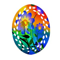 Abstract Flowers Bird Artwork Oval Filigree Ornament (Two Sides)