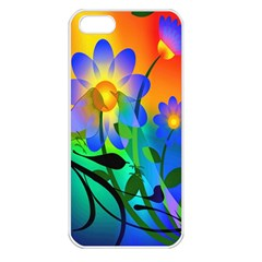 Abstract Flowers Bird Artwork Apple Iphone 5 Seamless Case (white)
