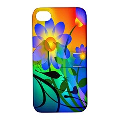 Abstract Flowers Bird Artwork Apple Iphone 4/4s Hardshell Case With Stand