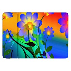 Abstract Flowers Bird Artwork Samsung Galaxy Tab 8.9  P7300 Flip Case