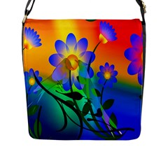 Abstract Flowers Bird Artwork Flap Messenger Bag (L)