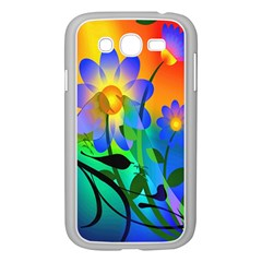 Abstract Flowers Bird Artwork Samsung Galaxy Grand DUOS I9082 Case (White)