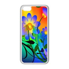 Abstract Flowers Bird Artwork Apple iPhone 5C Seamless Case (White)