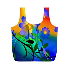 Abstract Flowers Bird Artwork Full Print Recycle Bags (m)