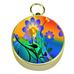 Abstract Flowers Bird Artwork Gold Compasses