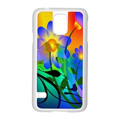 Abstract Flowers Bird Artwork Samsung Galaxy S5 Case (white)