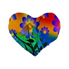 Abstract Flowers Bird Artwork Standard 16  Premium Flano Heart Shape Cushions