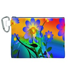 Abstract Flowers Bird Artwork Canvas Cosmetic Bag (XL)