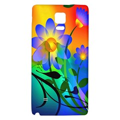 Abstract Flowers Bird Artwork Galaxy Note 4 Back Case