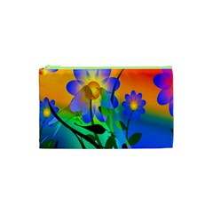 Abstract Flowers Bird Artwork Cosmetic Bag (XS)