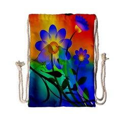 Abstract Flowers Bird Artwork Drawstring Bag (Small)