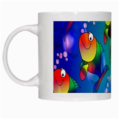 Fish Pattern White Mugs