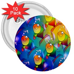 Fish Pattern 3  Buttons (10 pack)