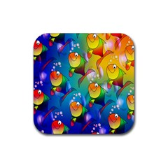 Fish Pattern Rubber Square Coaster (4 pack)