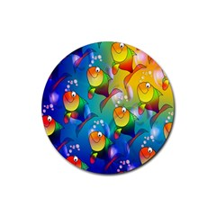 Fish Pattern Rubber Coaster (Round)