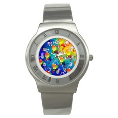 Fish Pattern Stainless Steel Watch
