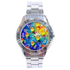 Fish Pattern Stainless Steel Analogue Watch