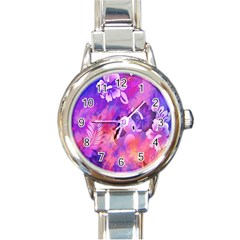 Abstract Flowers Bird Artwork Round Italian Charm Watch
