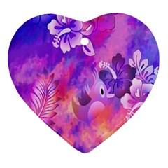 Abstract Flowers Bird Artwork Ornament (Heart)
