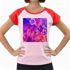 Abstract Flowers Bird Artwork Women s Cap Sleeve T-Shirt