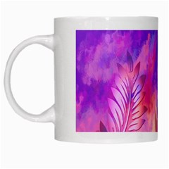 Abstract Flowers Bird Artwork White Mugs