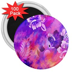 Abstract Flowers Bird Artwork 3  Magnets (100 Pack)