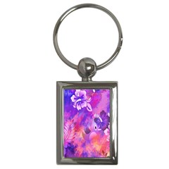 Abstract Flowers Bird Artwork Key Chains (Rectangle)