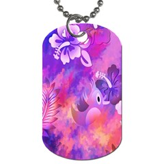 Abstract Flowers Bird Artwork Dog Tag (Two Sides)