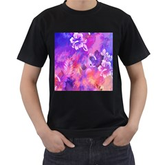 Abstract Flowers Bird Artwork Men s T-Shirt (Black) (Two Sided)