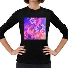 Abstract Flowers Bird Artwork Women s Long Sleeve Dark T-Shirts