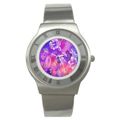Abstract Flowers Bird Artwork Stainless Steel Watch