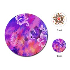 Abstract Flowers Bird Artwork Playing Cards (Round)