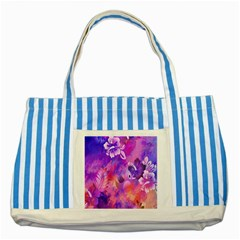 Abstract Flowers Bird Artwork Striped Blue Tote Bag
