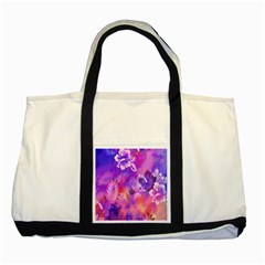 Abstract Flowers Bird Artwork Two Tone Tote Bag