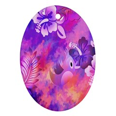Abstract Flowers Bird Artwork Oval Ornament (Two Sides)