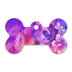 Abstract Flowers Bird Artwork Dog Tag Bone (Two Sides)