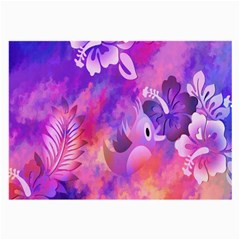 Abstract Flowers Bird Artwork Large Glasses Cloth