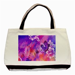 Abstract Flowers Bird Artwork Basic Tote Bag (Two Sides)