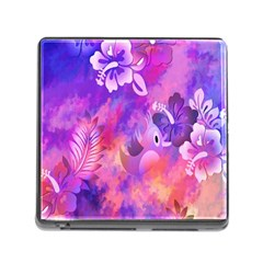 Abstract Flowers Bird Artwork Memory Card Reader (Square)