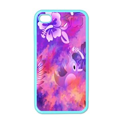 Abstract Flowers Bird Artwork Apple Iphone 4 Case (color)