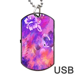 Abstract Flowers Bird Artwork Dog Tag USB Flash (Two Sides)