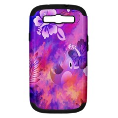 Abstract Flowers Bird Artwork Samsung Galaxy S III Hardshell Case (PC+Silicone)