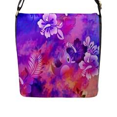 Abstract Flowers Bird Artwork Flap Messenger Bag (L)