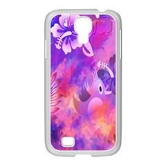 Abstract Flowers Bird Artwork Samsung GALAXY S4 I9500/ I9505 Case (White)